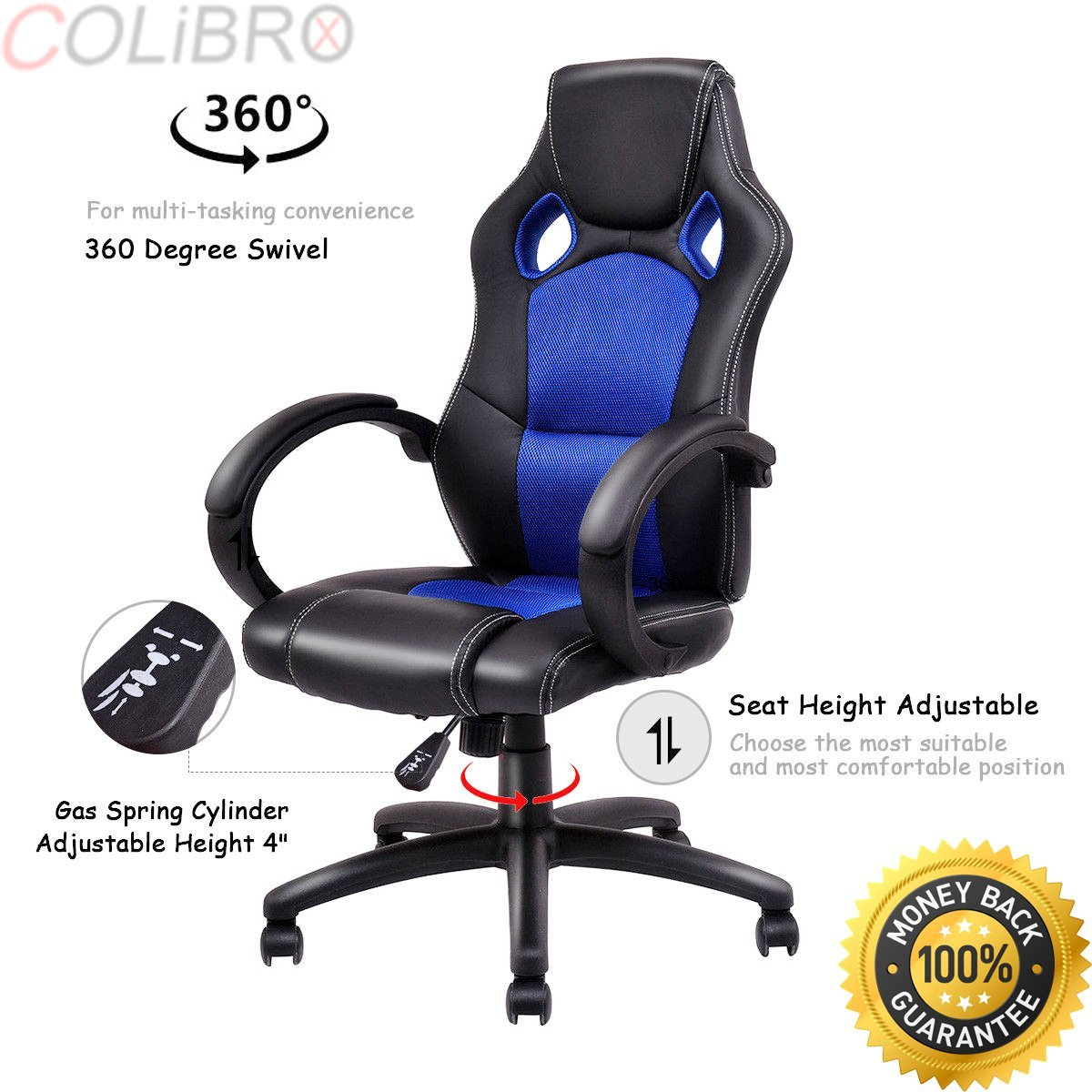 COLIBROX--High Back Racing Chair Bucket Seat Office Desk Gaming Chair Swivel Executive New. new high back racing car style bucket seat office desk chair gaming chair. amazon racing seat office chair.