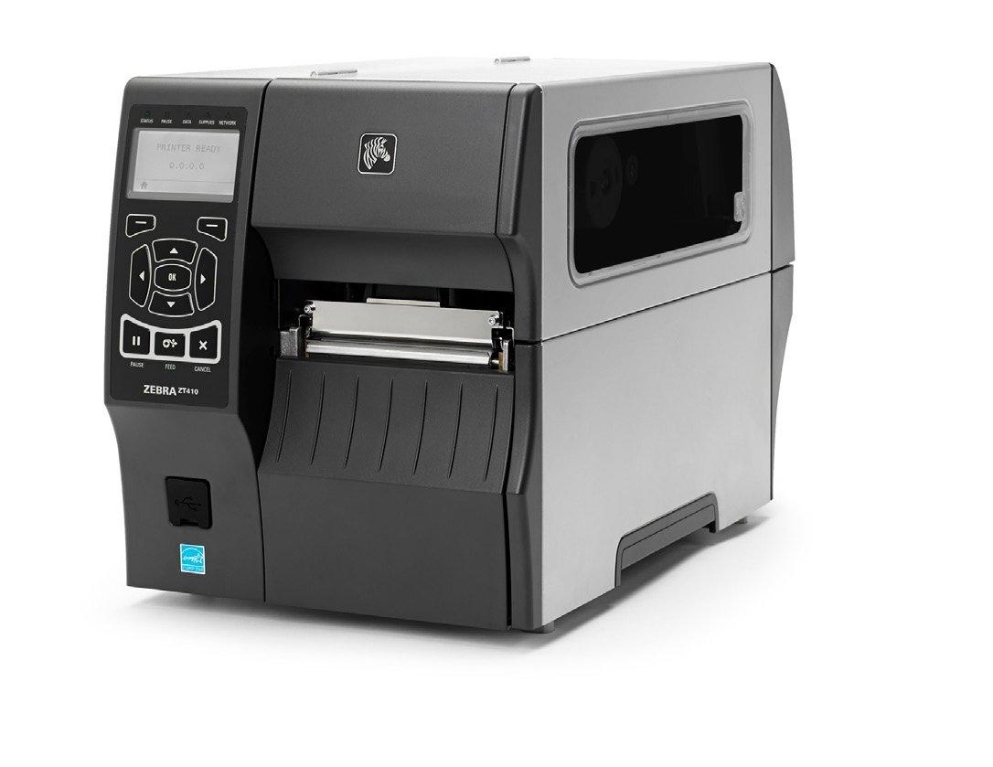 "Zebra Technologies ZT41042-T110000Z Series ZT410 4"" DT/TT Tabletop Printer, 203 dpi Resolution, Tear Bar, Power Cord with US Plug, USB 2.0/RS-232 Serial/10/100 Ethernet, Bluetooth 2.1, EZPL, Peel"