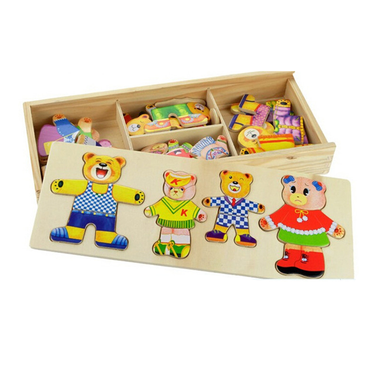 FQ brand kids Intelligent block shape small educational toy children 3D jigsaw wooden puzzle