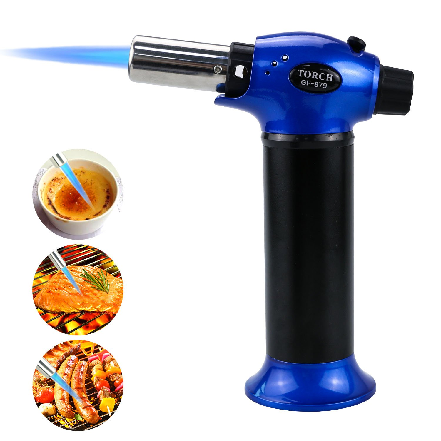 Updated Kitchen Torch Lighter, TedGem Refillable Blow Torch Culinary Torch Cooking Torch Butane Torch Flame Lighter with Safety Lock Adjustable Temperature & Flame for Creme Brulee BBQ,Gas Not Include