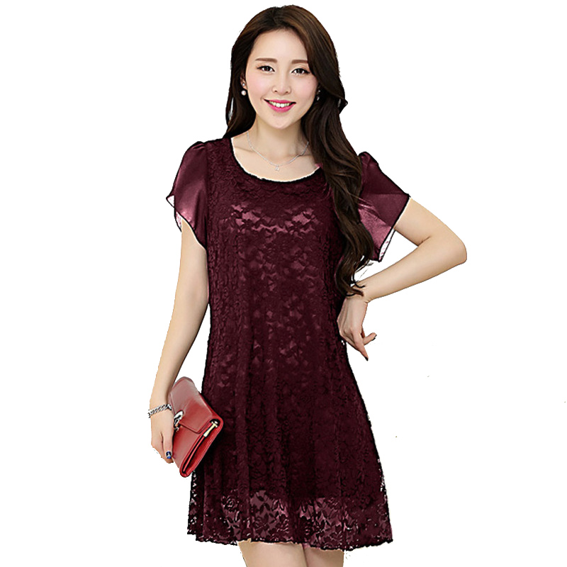 2015 new plus size casual summer dresses wine red | black | navy lace short dress loose short sleeve solid color lace dress