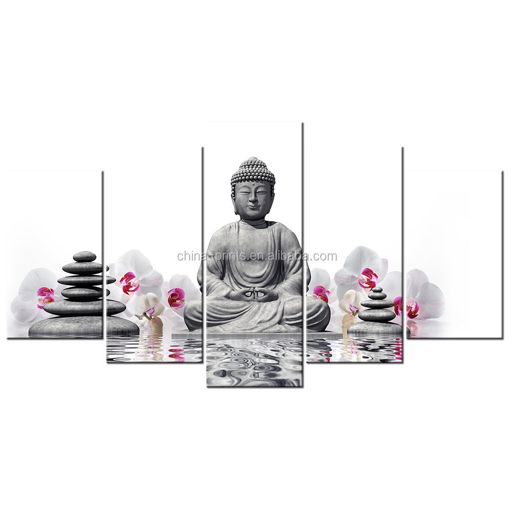 Big Size Multi Panel Buddha Picture Canvas Painting Zen Paiting for Home Wall Decor Butterfly Orchid Printed on Canvas Drop Ship