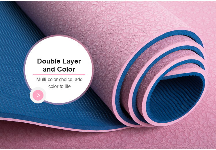 double side anti-slip texture TPE environmental material yoga matt with net bag