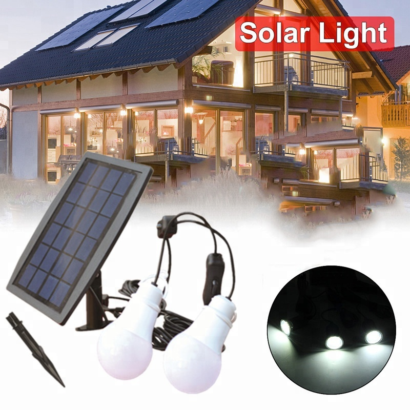 Two Bulb Outdoor/Indoor Solar Power LED Lighting Emergency Light Camping light