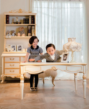 Luxury Royal Child Wood Study Table And Chairs, Hand Carved Kids Reading  Table (BF01