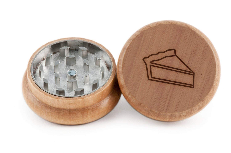 GRINDCANDY Spice And Herb Grinder - Laser Etched Pie Slice Design - Manual Oak Pepper Grinder