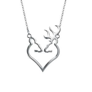 925 silver heart necklaces, browning deer antler heart pendants necklace deer jewelry for Christmas necklace