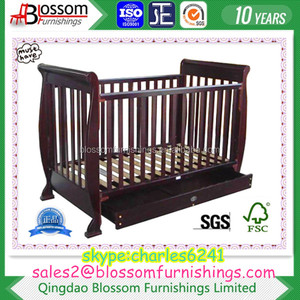 Fashion Baby Wooden Cot Sleigh
