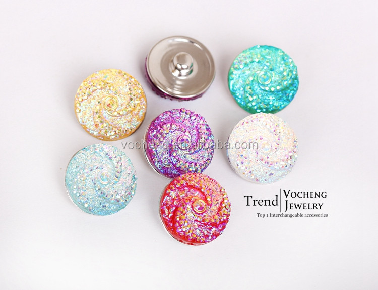 Wholesale 20PCS/Lot Vocheng 18mm Acrylic 6 Colors Gingersnaps Interchangeable Snap Charm Jewelry (Vn-717*20) Free Shipping