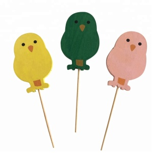 easter /spring wooden chicks on stick garden decoration mini pick