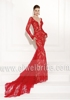 S1446 Sexy deep v-neck mermaid sweep train long sleeves red lace prom dress