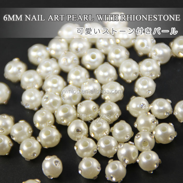 6mm loose bulk pearls with Diamond finger nail jewelry