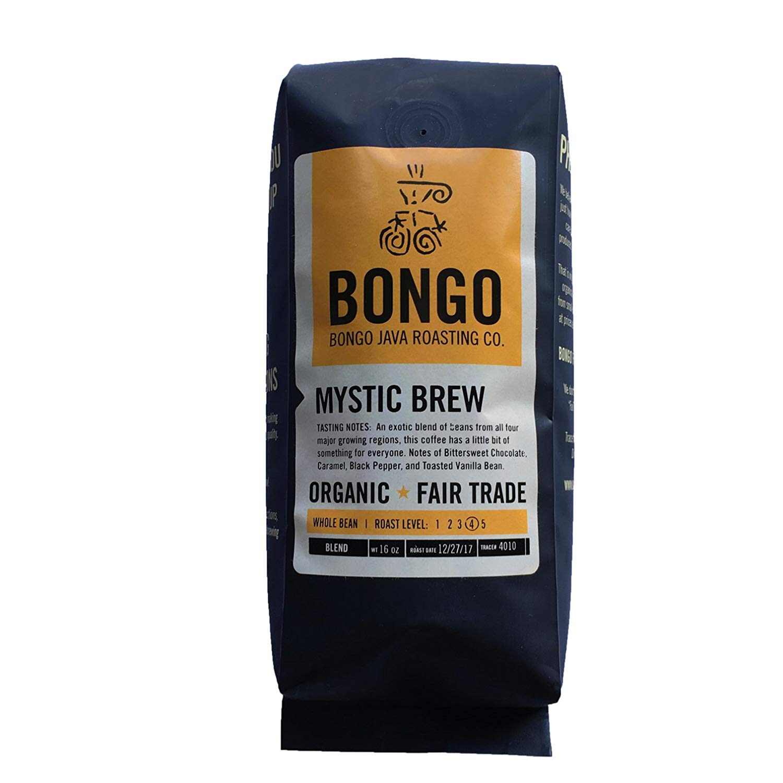 Bongo Java Roasting Co. Mystic Brew Blend, Organic Fair Trade Whole Bean Coffee, Dark Roast, 16 oz. bag