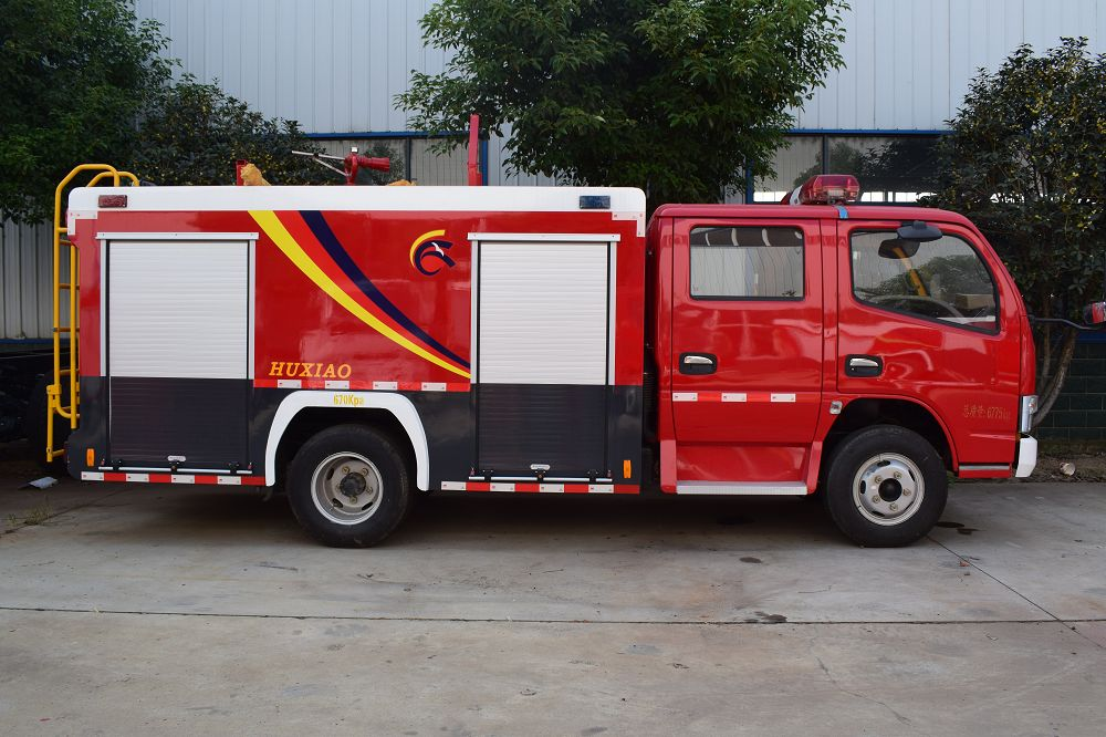 Small Width of a Fire Truck with Rotating Red Lights