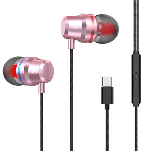 2019 new arrivals USB Type-C Earphone HiFi Stereo Earbubs Super Bass Metal in-ear Earphone with Mic