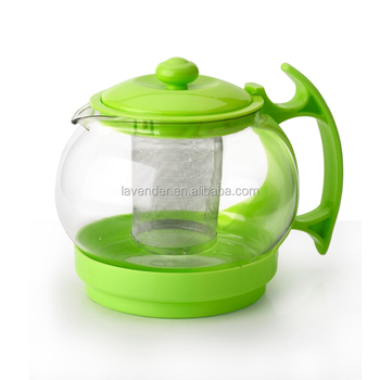 1100ML Modern Russian Hot Plastic Glass Teapot With Handle