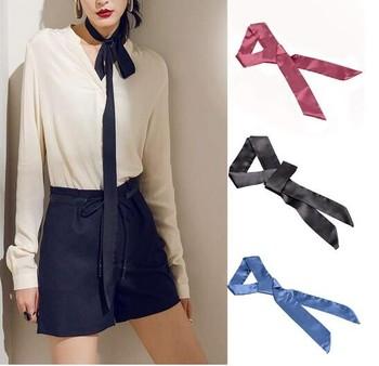 Women Chiffon Skinny Scarf Extra Long Slim Belt Tie Plain Ribbon Choker  Neck New 19232ca1e7