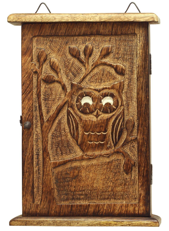 Valentine Gifts Decoration Wooden Vintage Look Wall Mount Owl Key Box Holder /Key Cabinet / Key Rack / Key Organizer - Owl Decor - Wood Hand Carved Decorative Key Storage - Wall Decor Accessories
