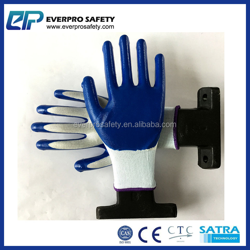 Oil Proof White Nylon Smooth Blue Nitrile Coated Gloves
