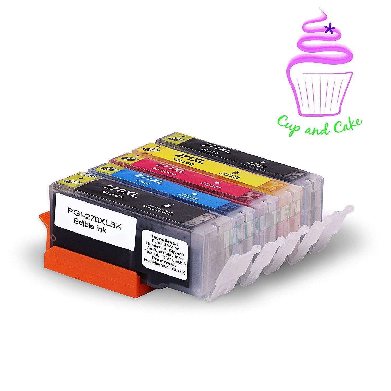 INKUTEN TM 5 Pack Edible Ink Cartridge Replacement for Canon PGI 270 XL PGI-270 CLI 271 XL CLI-271 (1 Big BK, 1 BK, 1 C, 1 M, 1 Y) Compatible with Canon MG7720 MG6820 MG6821 MG682 MG5720 MG5722 MG5721