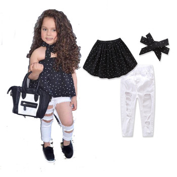 c3b1676a86c89 Fashion Kid Baby Girls Clothes Set 3pcs Dot Wrapped Chest Top Vest Ripped Hole  Jeans Pants