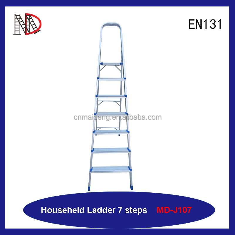 8 step aluminum household ladder with handrail safety profile