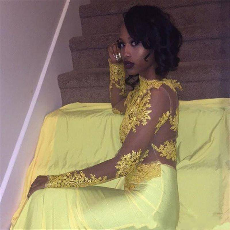 Zh3017g Pretty Yellow African Lace Appliqued Prom Dress Mermaid Long Sleeve Banquet Evening Party Gown Plus Size South African Buy Long Sleeve