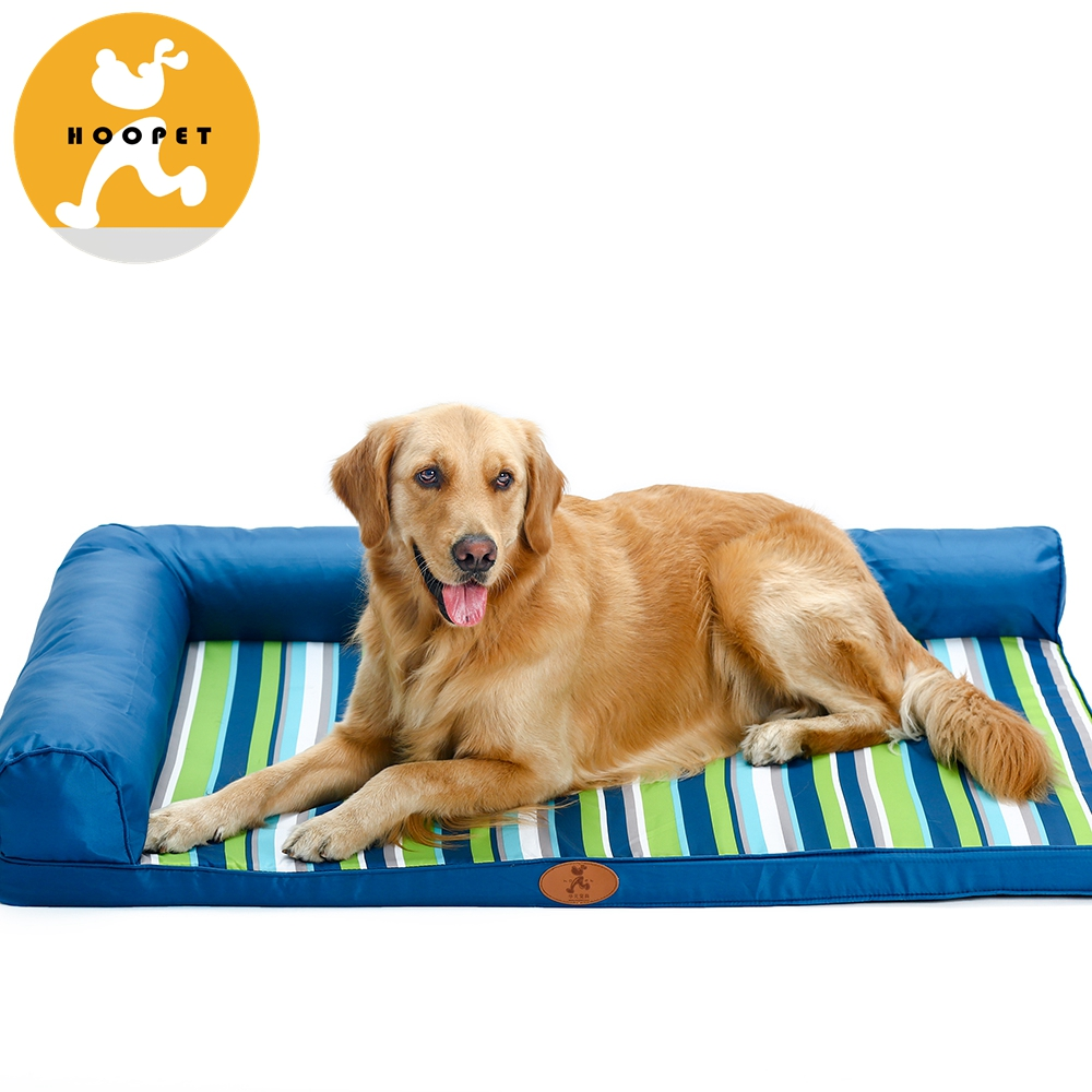 Hot Sale Mordern Brief And Fashion Design Flat Dog Bed Mat with Pillow Stripe Blue Green