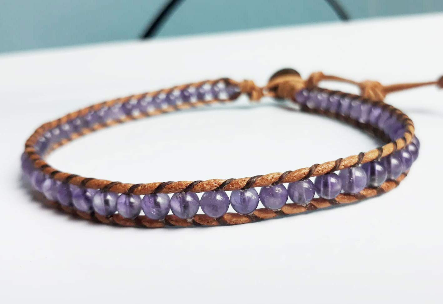 Amethyst stone anklets leather anklets men anklets women anklets gift anklets boy anklets girl anklets friendship anklets