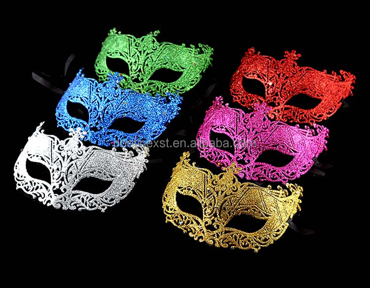 6 colors glittered hollow plastic Mardi Gras masks Princess party mask