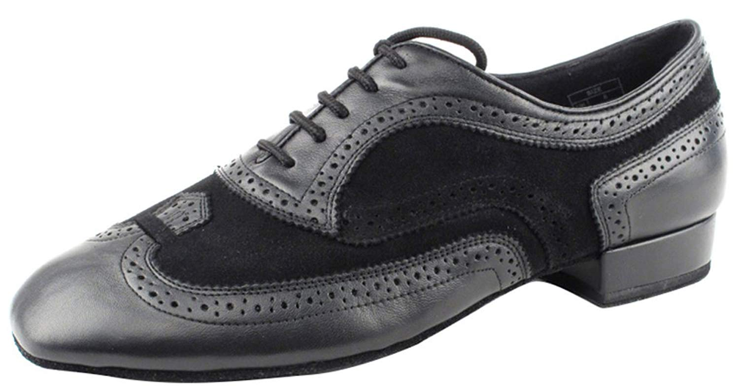 Very Fine Shoes Men's Standard & Smooth Competitive Dancer Series CD9002B Black Leather & Suede