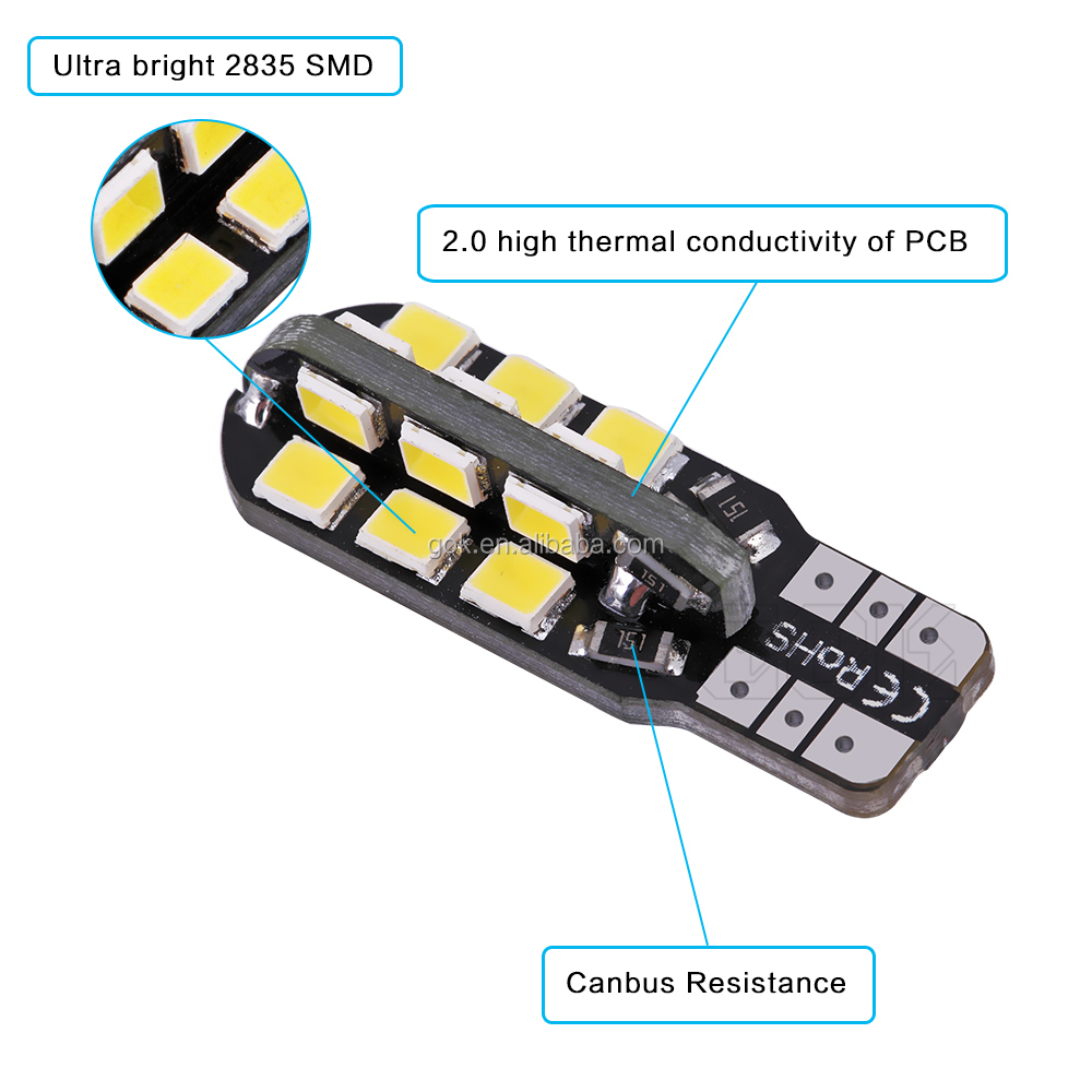 High Quality Canbus LED Error Free T10 24SMD LED 2835 SMD Wedge Clearance Backup Turn Signal Light Bulb W5W 194 168 Super Bright