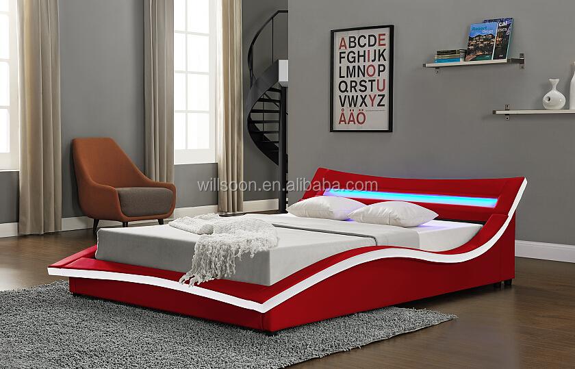 Pu Rouge Lumiere Cadre De Lit En Cuir Buy Lit En Cuir Rouge Cadre