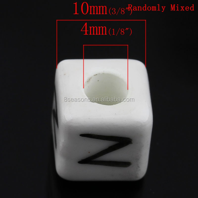 "Wholesale Mixed Alphabet/Letter ""A-Z"" Cube Ceramics Beads 10mm"