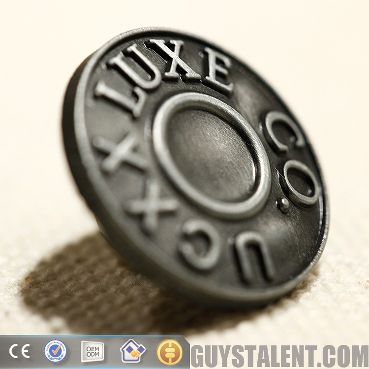 Custom private brand name logo design metal jeans button