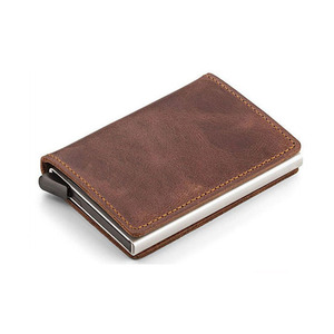 Credit Card Holder RFID Blocking Wallet Slim Wallet Leather Aluminum Business Card Holder Automatic Pop-up Card Case Wallet S