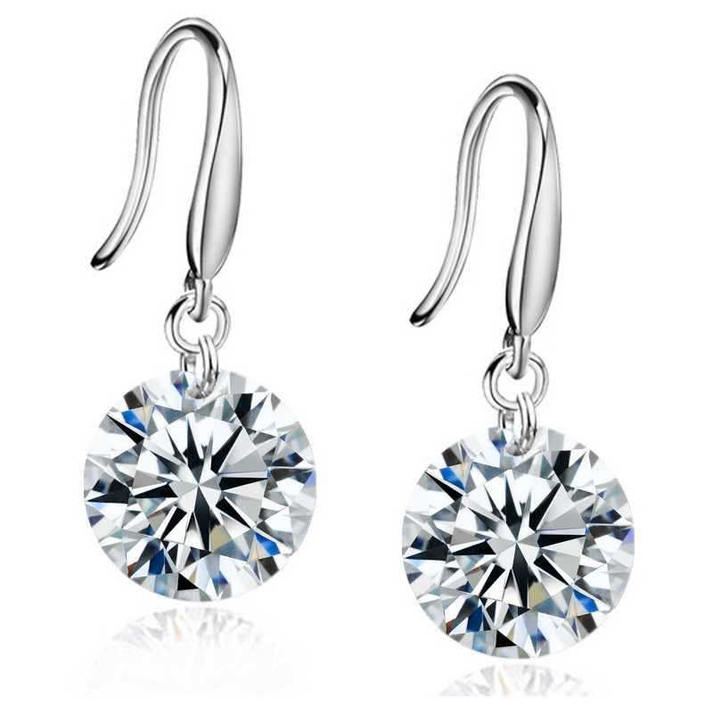 Cheap cz earrings simple 8mm cubic zirconia drop earrings