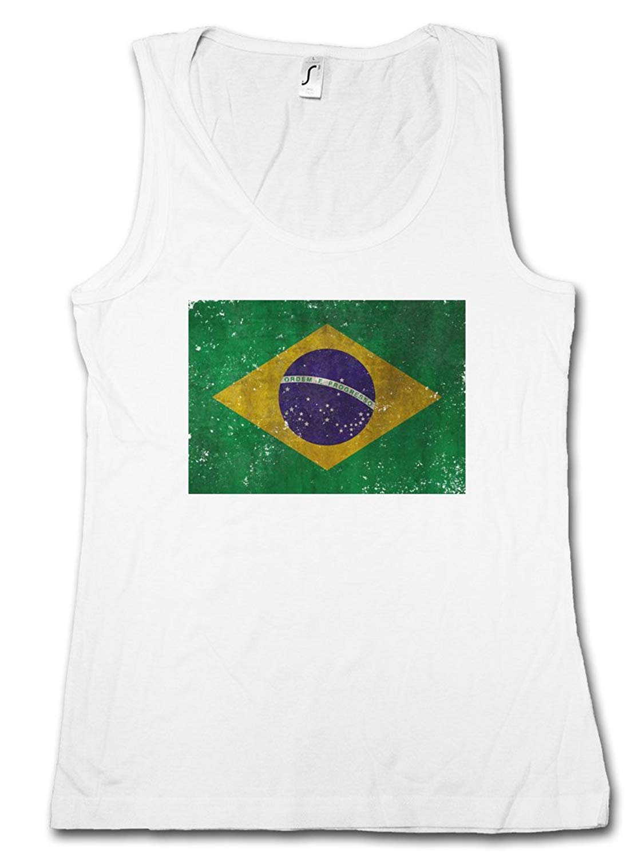 Urban Backwoods Brazil Flag Vintage Logo Woman Tank TOP - Brasil Brasilien Banner Fahne Flagge WM Retro Sizes S – XL