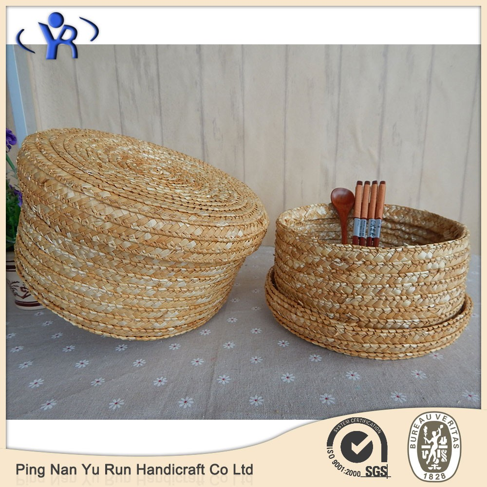 Natural wheat straw storage basket with lid & Natural Wheat Straw Storage Basket With Lid - Buy Wheat Straw Lid ...