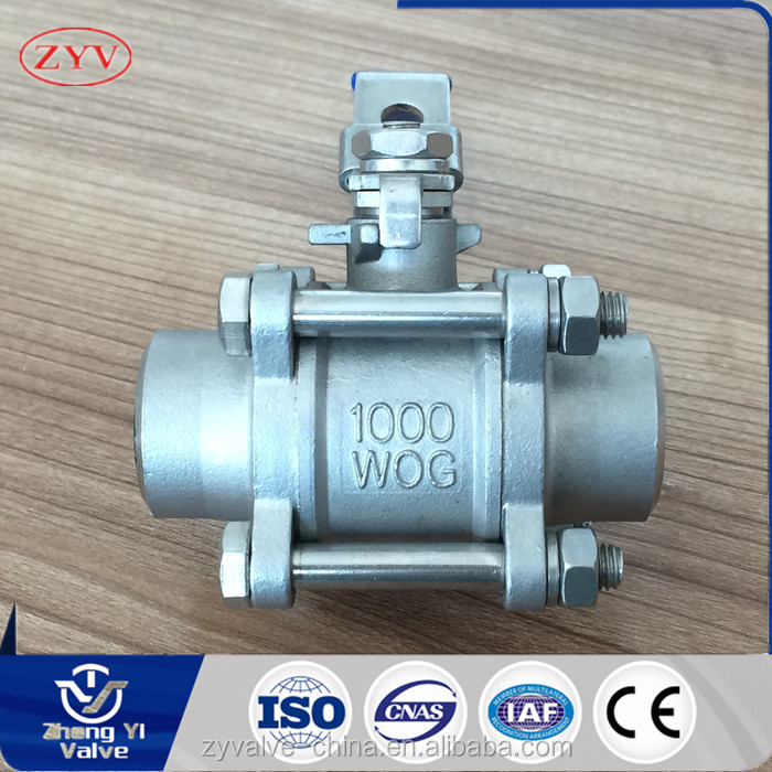 China produces stainless steel welded 3 piece ball valve