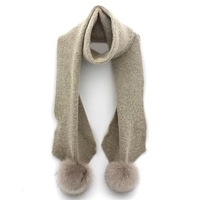 lady fashion 100%acrylic cashmere winter knitted rib long scarf with big real fur pompom