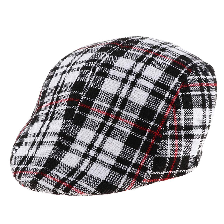 Get Quotations · Prettyia Toddler Kids BOY Check Flat Cap Newsboy Cabbie  Gatsby Baker BOY Hats Cotton 7161cddb9943