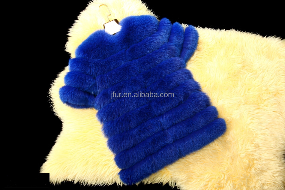Wholesale Short Style Natural Royal Blue Fox Fur Coat for Fashion Girls