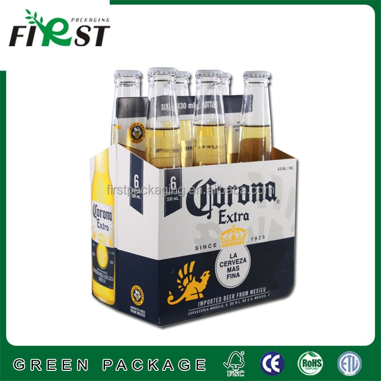 2017 Top quality strong hard thick cardboard carrier box for 6 pack wine beer juice packaging customized logo printing accept