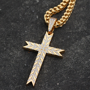 New Hip Hop Gold Pendant Designs Men Diamond 18K Dubai Gold Cross