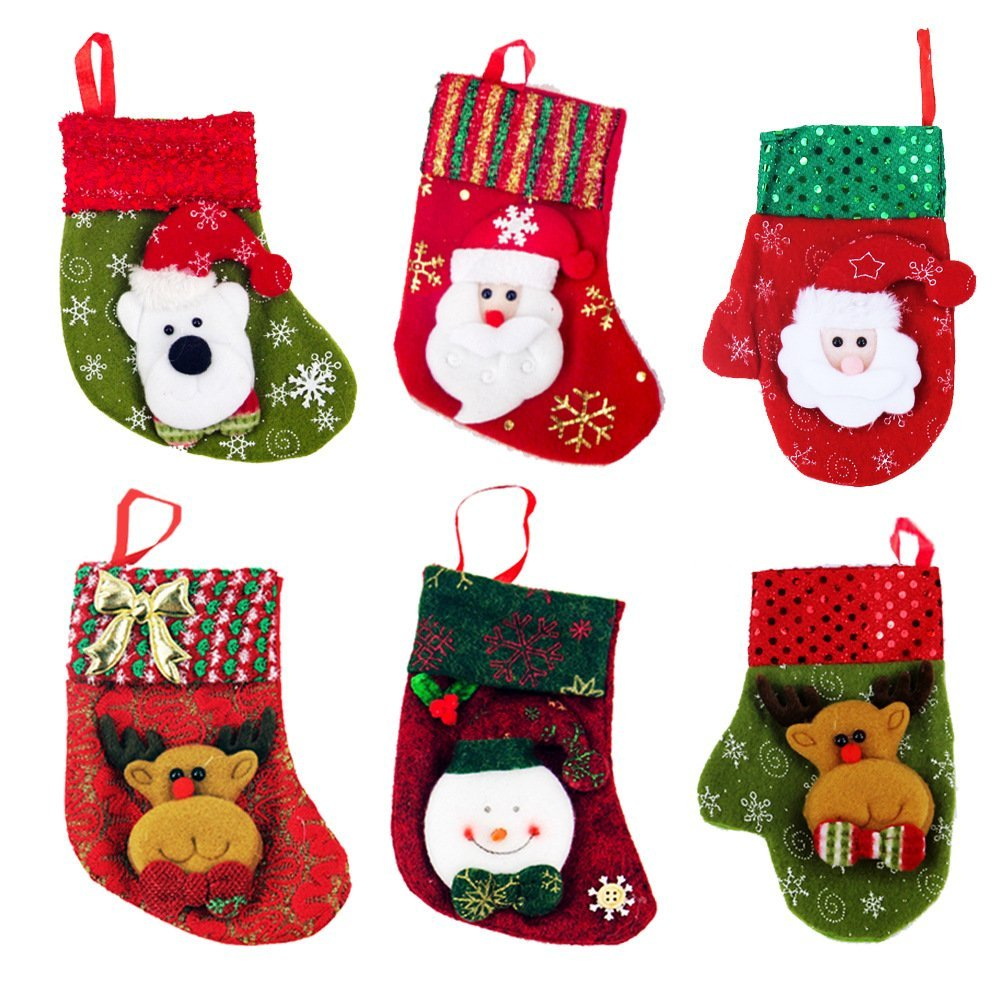 Get Quotations · Zhihu Set of 6 Stockings for Santa Christmas Santa s  Stockings Gifts Baskets Candy Holiday Candy Gift 77aaa1c16b8e
