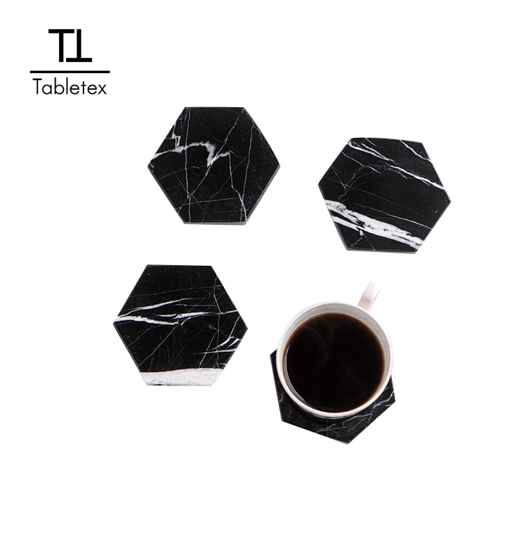 Tabletex promozionale commercio all'ingrosso personalizzata riutilizzabile personalizzato drink bar birra wipeable hexagon in bianco stampato coaster