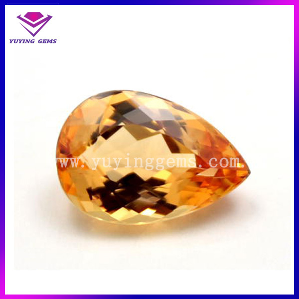 Synthetic Pear Cut Yellow Topaz Gemstone Price