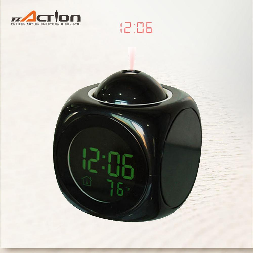 LCD talking table clock with projection time on ceiling