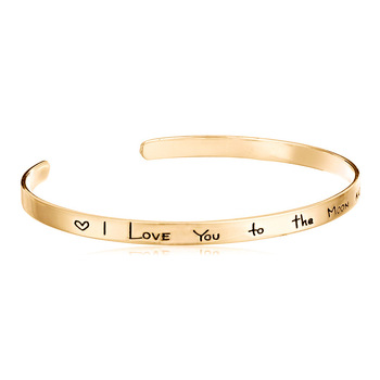 Stainless Steel I Love You To The Moon Back Engraved Positive Inspirational Quote Cuff Opening Bangle